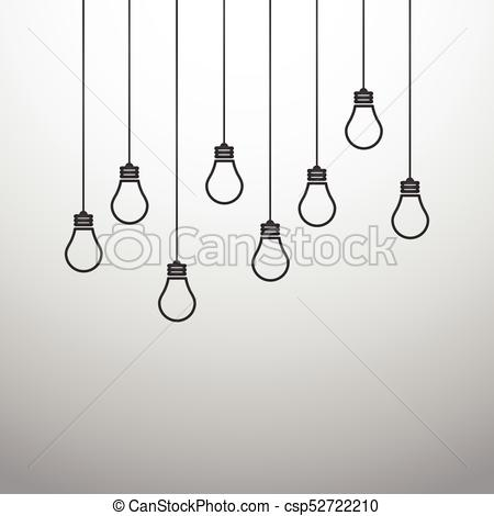 Vector illustration with hanging light bulbs.
