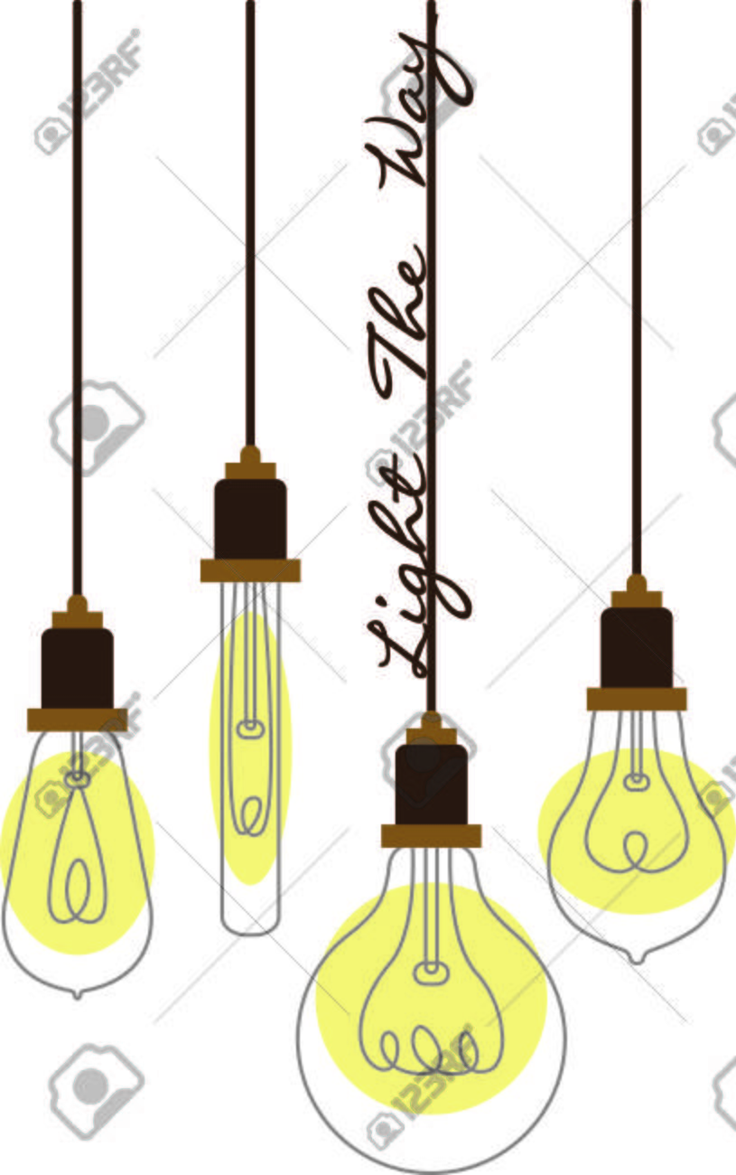 Assorted hanging vintage light bulbs with curling wire filaments..