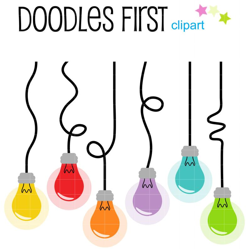 Hanging Light Bulbs Clip Art for Scrapbooking Card Making Cupcake Toppers  Paper Crafts.