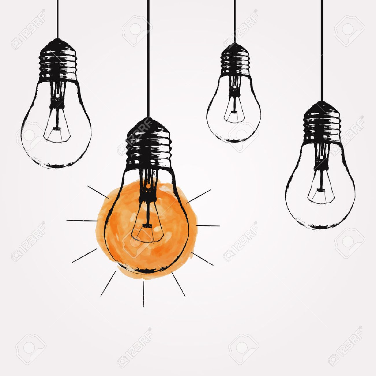 Vector grunge illustration with hanging light bulbs and place...