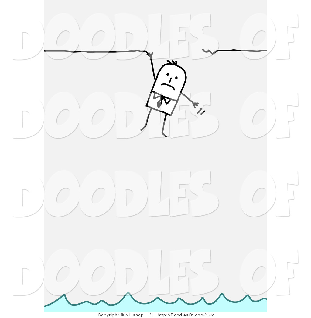 Vector Clipart of a Stick Figure Person Business Man Hanging.