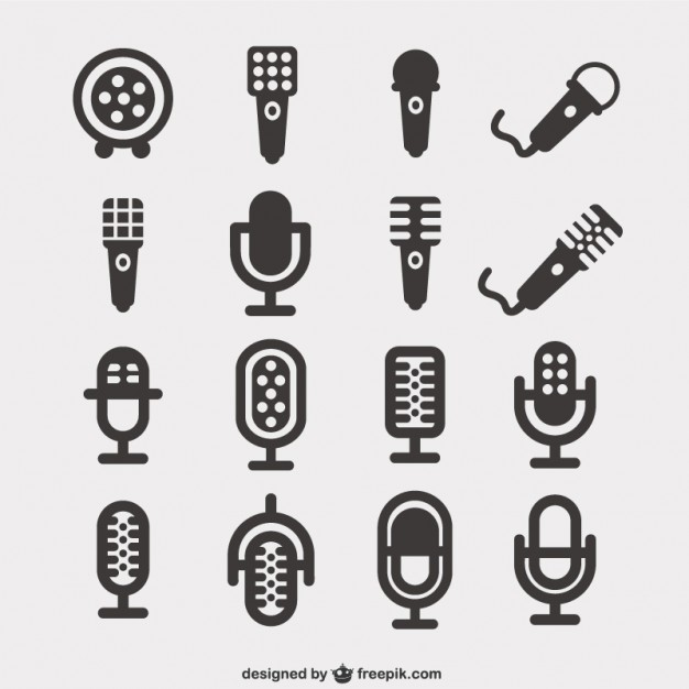 Microphone icons pack Vector.