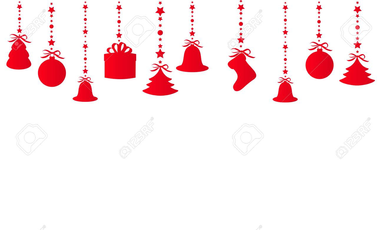 Hanging red christmas ornaments isolated on white background..