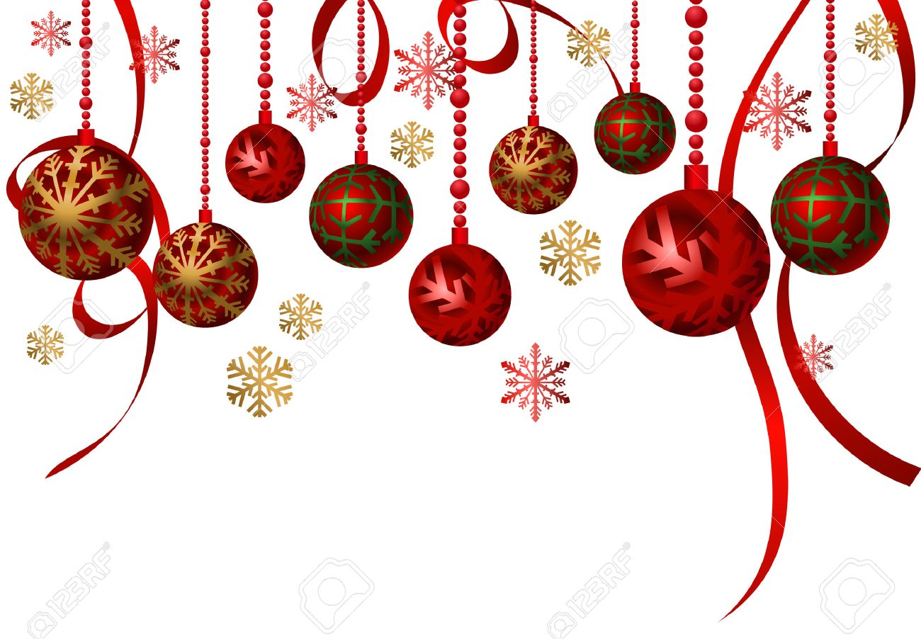 Christmas Background with hanging ornaments.