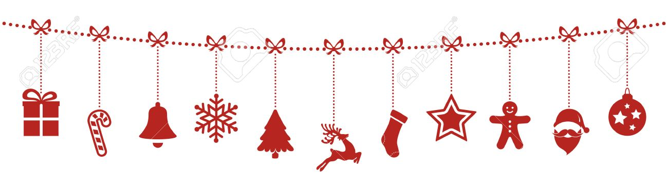 christmas ornaments hanging rope red isolated background.