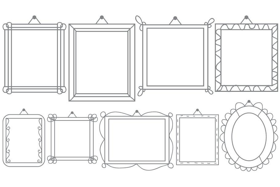Vector Hanging Doodle Frames Set.