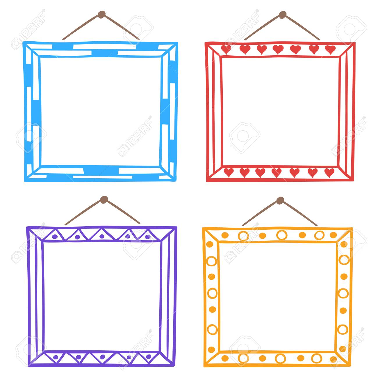 Vector set of hanging picture frames, hand drawn doodle style,...