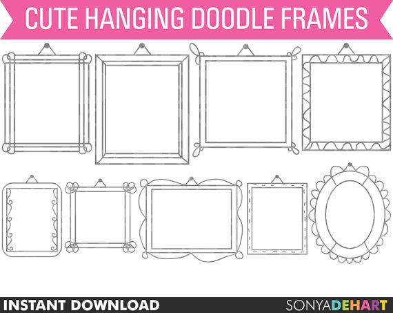 Digital Frames, Hand Drawn Clipart, Frames Clip Art, Doodle Frames.