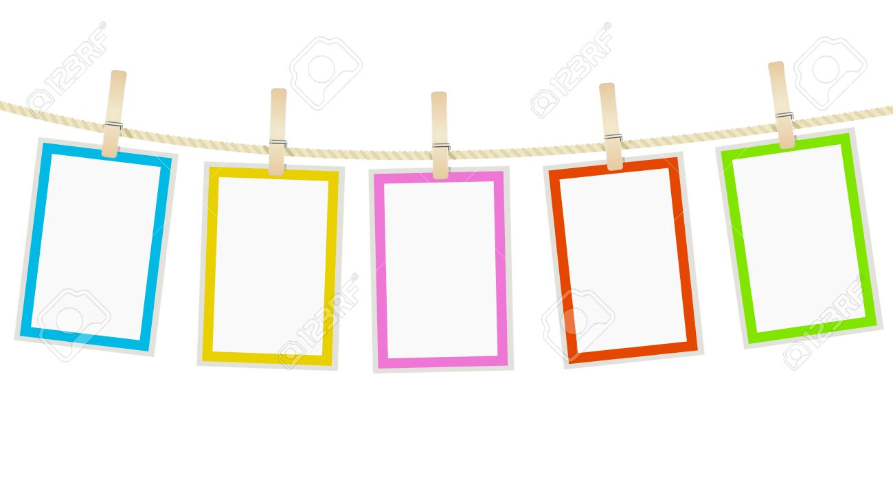 photo frames hanging on a rope with clothespins. vector.