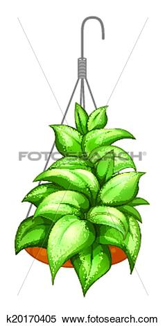 Clipart of A pot with a hanging plant k20170405.