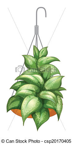 Vector Clipart of A pot with a hanging plant.