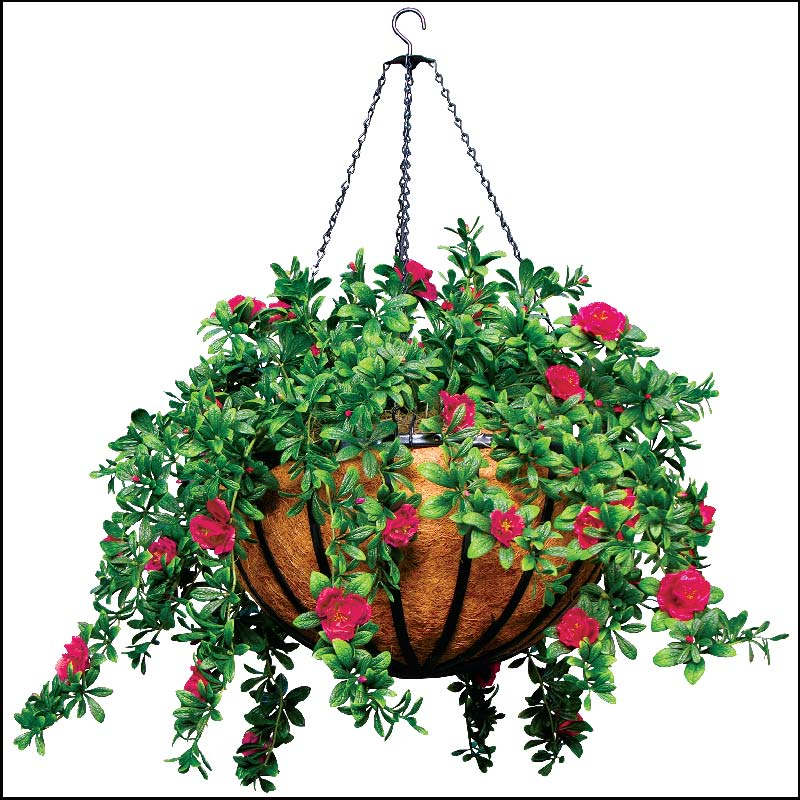 "22"" Hanging Basket with 5 Artificial Azalea Plants."