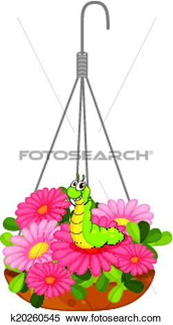 Clipart of A hanging pot with plants and a worm k20260545.