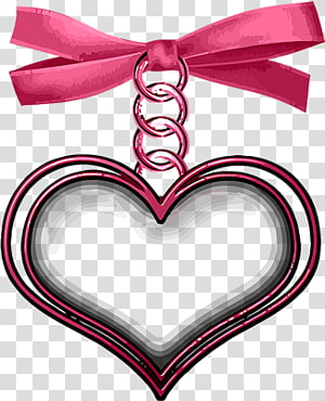Heart hanging from Pink Ribbon, red heart pendant.