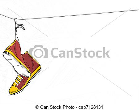 Vector Clip Art of Sneakers Hanging on wire on White Background.