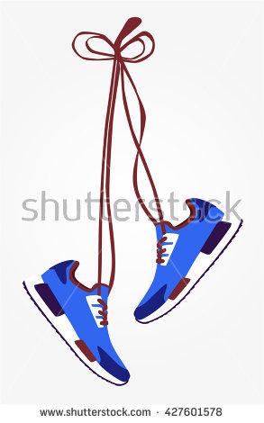 Pair Hanging Sneakers Vector Stock Vector 320218931.