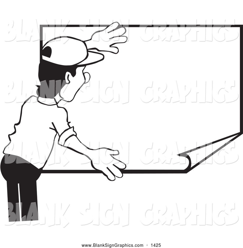 Vector Illustration of a Black and White Worker Man Hanging up a.