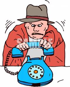 Free Clipart Image: A Nervous Man Hanging Up the Phone.
