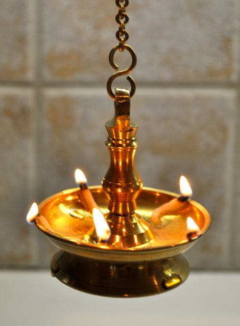Brass lights used during Vishu in Kerala. ….