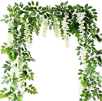 Artificial Flowers Silk Wisteria Fake Hanging Vines Plants Faux Garlands  for Garden Outdoor Wall Greenery Jungle Party Wedding Arch Floral  Decoration.