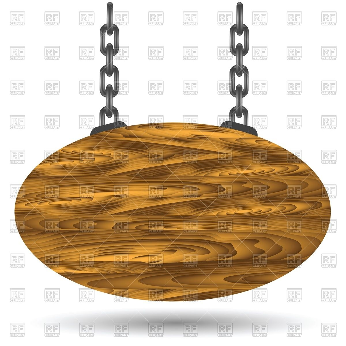 Oval wooden sign board hanging on a chains Stock Vector Image.