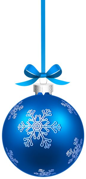 Blue Sriped Christmas Hanging Ball PNG Clipart Image.