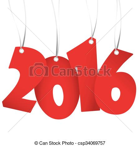 Clipart Vector of hangings new year 2016 numbers.