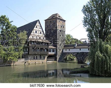 Stock Photography of Wine Store and Hangman's Bridge in Nuremberg.