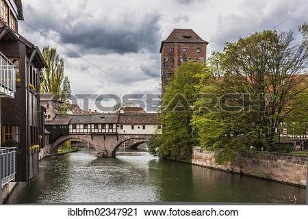 "Stock Photography of ""Pegnitz river with the Henkersteg footbridge."