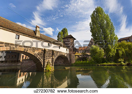 Stock Photo of Henkersteg bridge and Pegnitz river, Nuremberg.