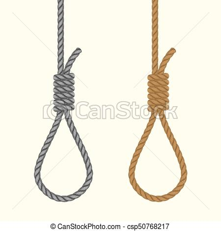 Rope hanging loop. Noose with hangmans knot. Suicide Death penalty.