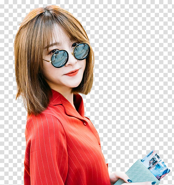 HANI, woman wearing black frame sunglasses transparent.
