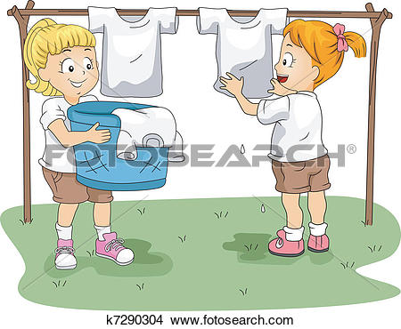 Clipart of Kids Hanging Clothes k7290304.
