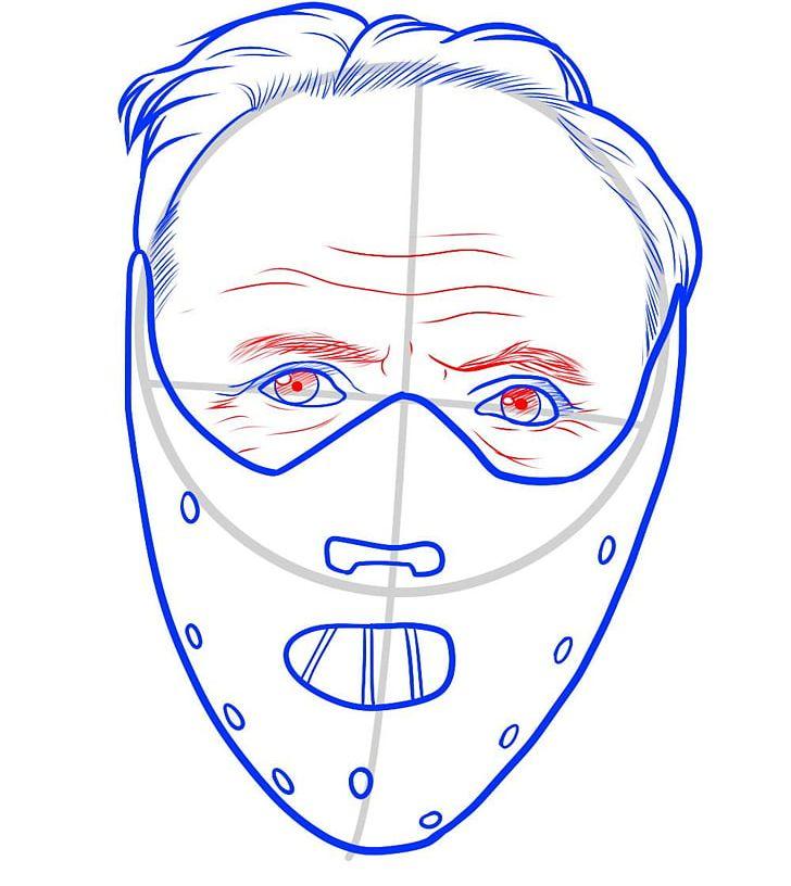 Hannibal Lecter Drawing Line Art Cartoon Mask PNG, Clipart.