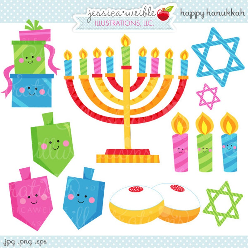 Happy Hanukkah Cute Digital Clipart.