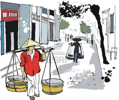 Vector illustration of Hanoi street with people.