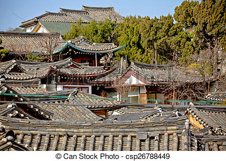 Stock Photo of Traditional Korean style roof tops of Bukchon Hanok.