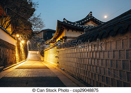 Picture of The Bukchon Hanok historic houses at night in Korea.