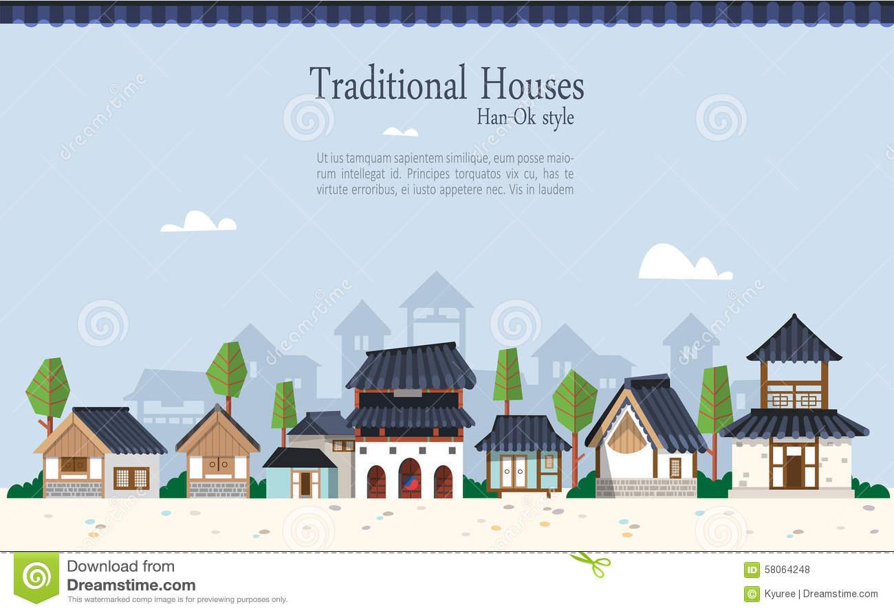 Korean Traditional Houses E Stock Vector.