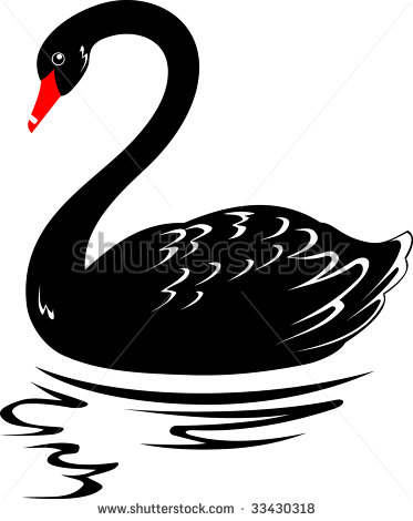 Clip Art Black And White Swan Clipart.
