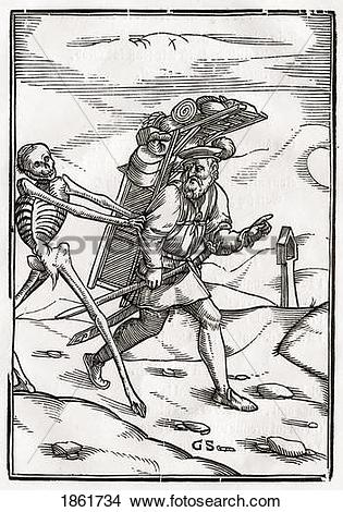 Stock Photo of Death Comes To The Pedlar Woodcut By Georg.