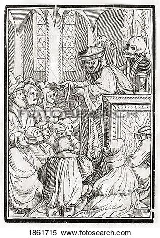 Stock Image of Death Comes For The Preacher Woodcut By Georg.