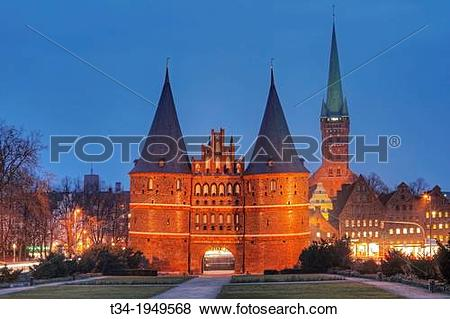 Pictures of Holsten Gate and Church of St. Peter, Hanseatic City.