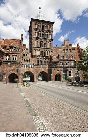 Stock Images of The late Gothic era castle gate, Lubeck, Hanseatic.