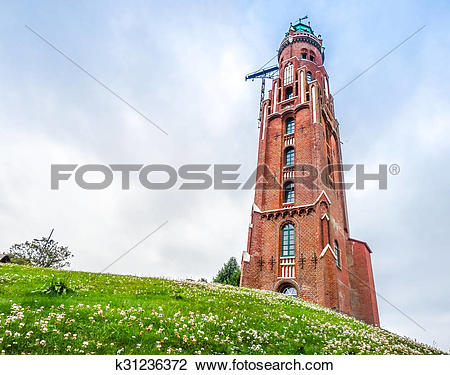 Stock Photo of Famous old lighthouse in Havenwelten in hanseatic.