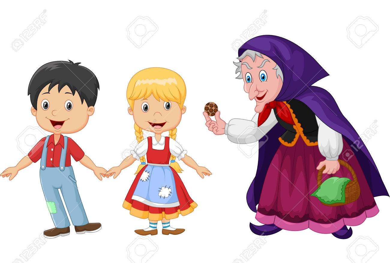 illustration of Classic children story Hansel and Gretel with...