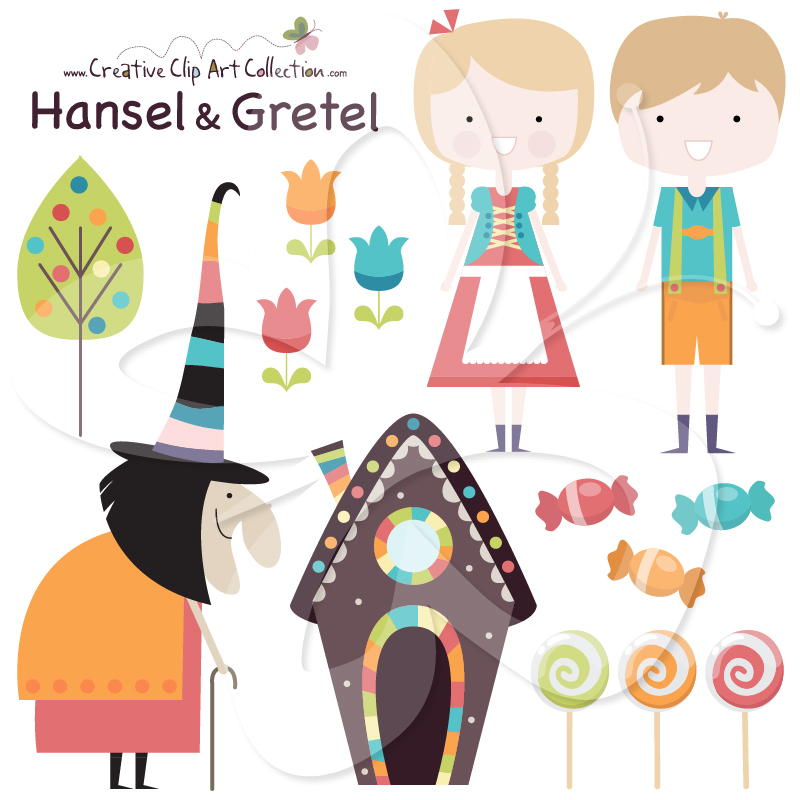 This cute Hansel and Gretel clip art set is designed by Creative.