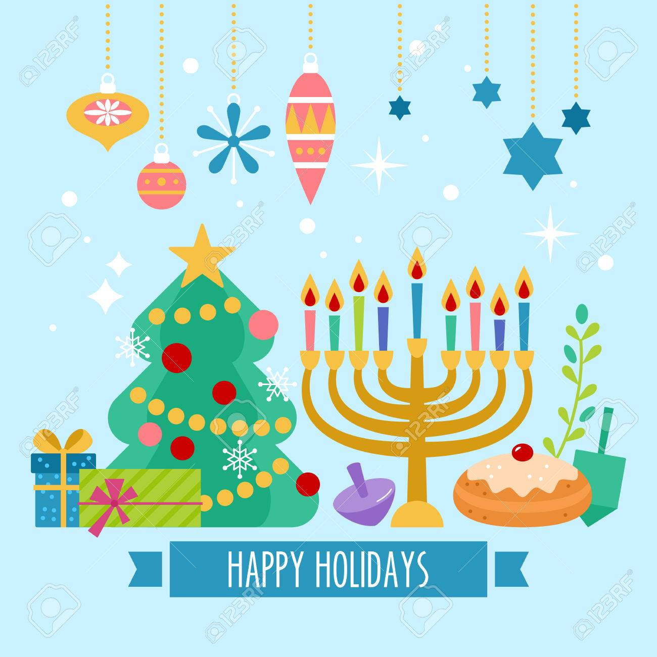 Christmas and Hanukkah holiday banner design.