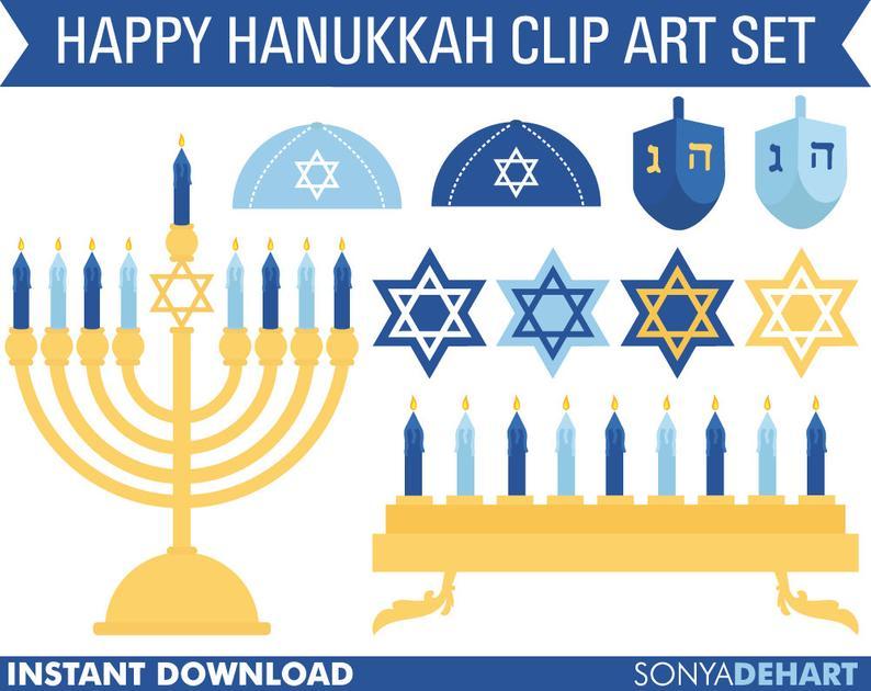 Hanukkah Clipart, Hanukkah Clip Art, Chanukah Clipart, Jewish Clipart,  Jewish Clip Art, Dreidel Clipart, Menorah Clipart.