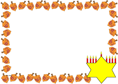Hanukkah Themed Lined Paper and Pageborders by jinkydabon.